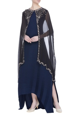 Kavita Bhartia Flared dress with embroidered cape jacket