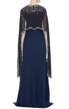 Flared dress with embroidered cape jacket