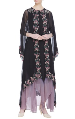 Kavita Bhartia Asymmetric tunic dress with long cape