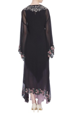 Asymmetric tunic dress with long cape