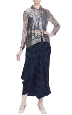 Kavita Bhartia Sheer tunic shirt with draped skirt