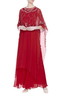 Kavita Bhartia Flower embroidered cape with sharara pants