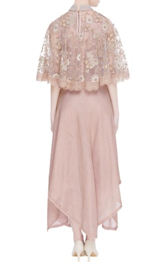 Rose embroidered cape & asymmetric dress