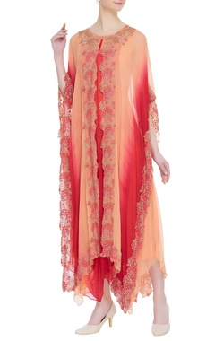 Kavita Bhartia Embroidered cape with asymmetric tunic dress
