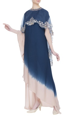 Kavita Bhartia Asymmetric dress with embroidered cape