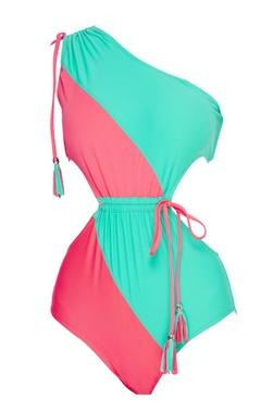 Color block one shoulder monokini