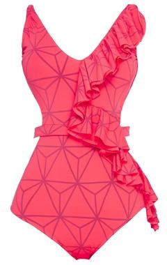 Geometric print ruffled swimsuit