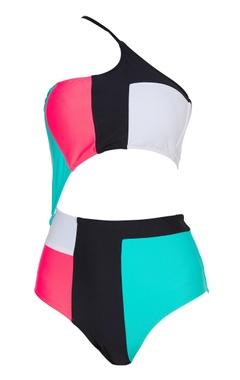 One shoulder color block swimsuit