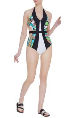 Color block swimsuit with belt