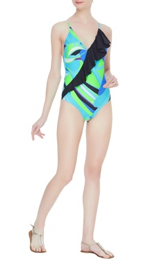 Printed cross strap back swimsuit