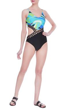 Kai Resortwear Metal mesh waist detail swimsuit