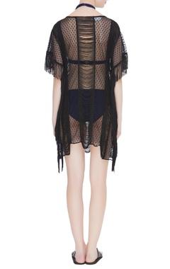 Fringe & lace net cover up