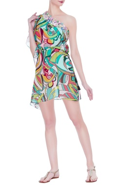 Kai Resortwear Embellished one shoulder cover up kaftan