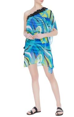 Kai Resortwear Sheer printed & embellished cover up