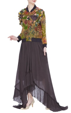 Divya Sheth Hand painted naturally dyed bomber jacket with dress
