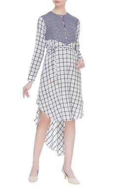 Divya Sheth Striped & checkered hand spun khadi dress