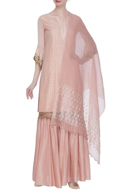Gota embroidered peplum sleeve kurta & gharara set