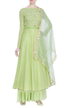 Chikankari hand embroidered flared kurta set