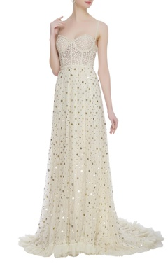 House of Kotwara Chikankari kamdani corset trail gown