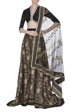 House of Kotwara Brocade hand embroidered zardozi velvet lehenga set