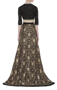 Brocade hand embroidered zardozi velvet lehenga set