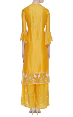 Chanderi pearl & zardozi embroidered kurta set