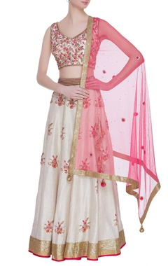 Raw silk zardozi & sequin embroidered lehenga set
