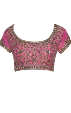 Embroidered cap sleeves saree blouse