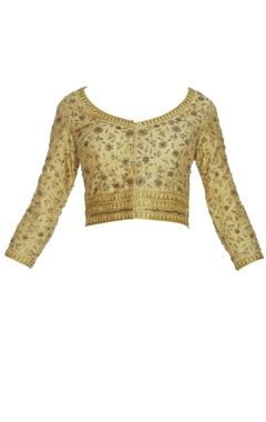 Embroidered three quarter sleeves saree blouse