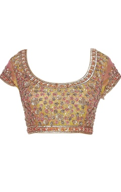 Embroidered raw silk saree blouse
