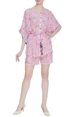 Floral print button down tunic with shorts