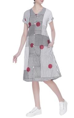 Stripe & polka dot printed dress