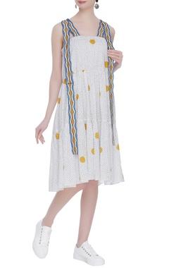 Tiered block printed midi dress