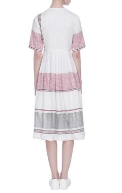 Pleated stripe printed midi dress