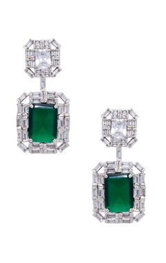 Silver & green mixed metal earrings
