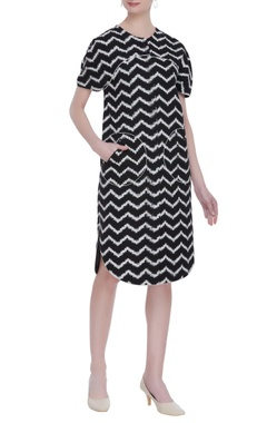 Rajesh Pratap Singh Chevron ikat short dress with pockets