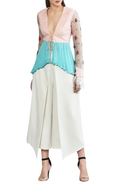 Draped ivory crepe pants