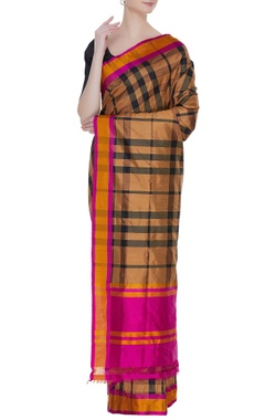 Banarasi silk gingham check sari with unstitched blouse