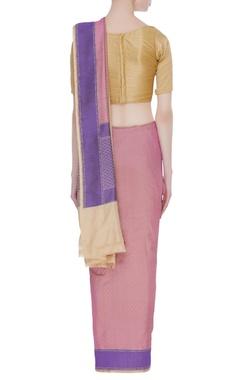 Banarasi woven dual color sari with unstitched blouse
