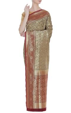Zari work banarasi woven sari with unstitched blouse