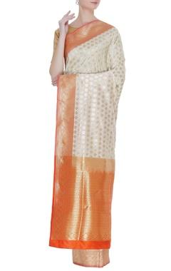 orange and white Banarasi silk zari sari with unstitched blouse