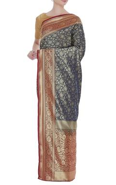 Zari banarasi silk sari with unstitched blouse