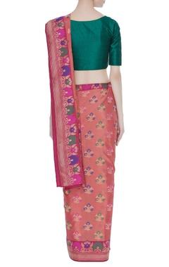 Banarasi silk floral sari & unstitched blouse