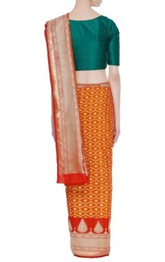 Banarasi silk zari sari with unstitched blouse