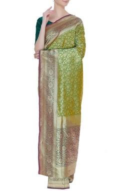 Banarasi woven silk sari with unstitched blouse