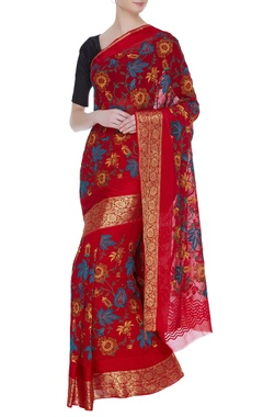 Banarasi georgette sari with unstitched blouse
