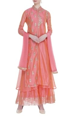Chanderi layered jacket kurta set
