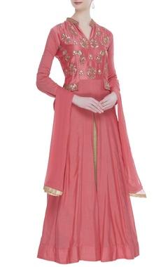Chanderi gota embroidered jacket lehenga set