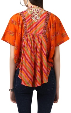Dual color geometric printed tunic