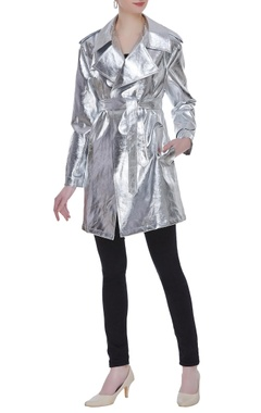 Deme by Gabriella Metallic futuristic trench jacket